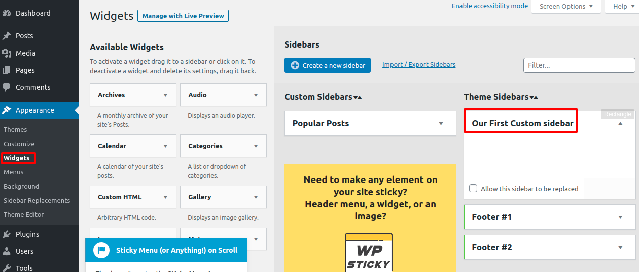 Create custom sidebar for each post and page in WordPress