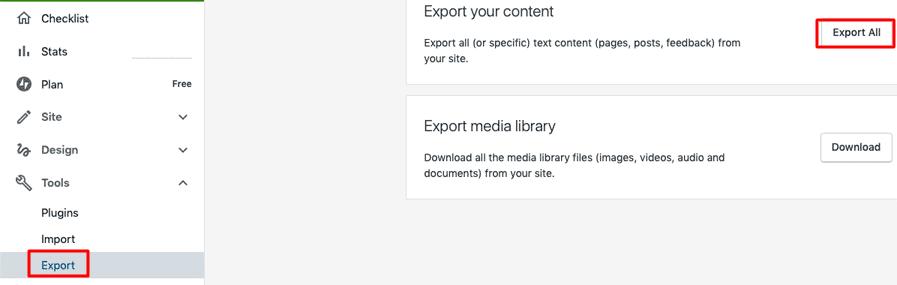 Export a WordPress Site