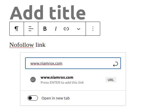 add nofollow link in WordPress