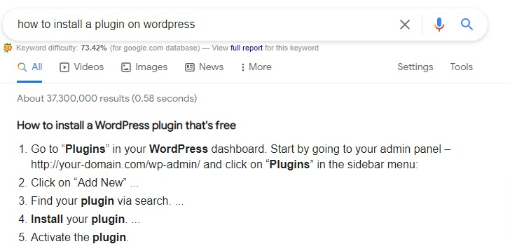 get a Google featured snippet in a WordPress