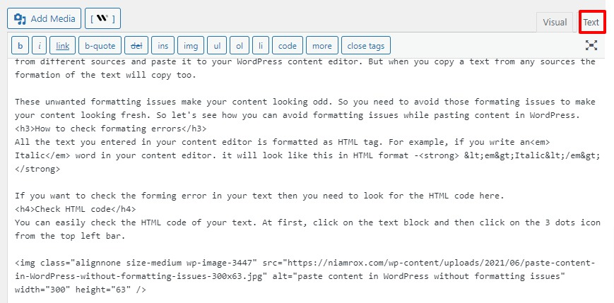 paste content in WordPress without formatting issues