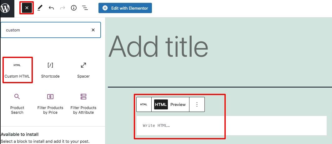 HTML in WordPress code editor