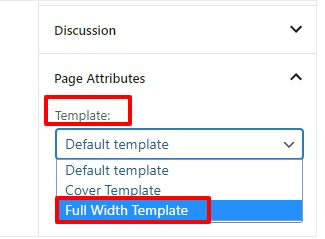 full width page in WordPress