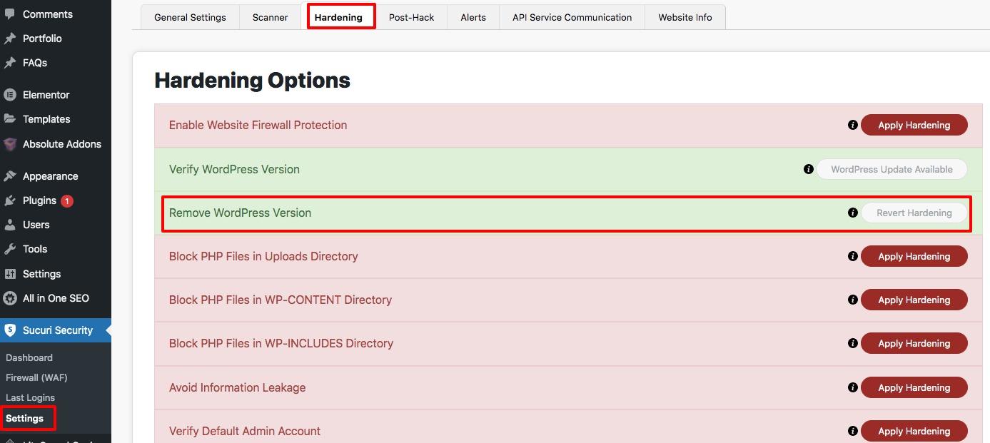 remove WordPress version number