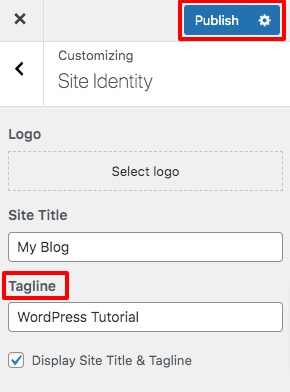 change the tagline of a WordPress website