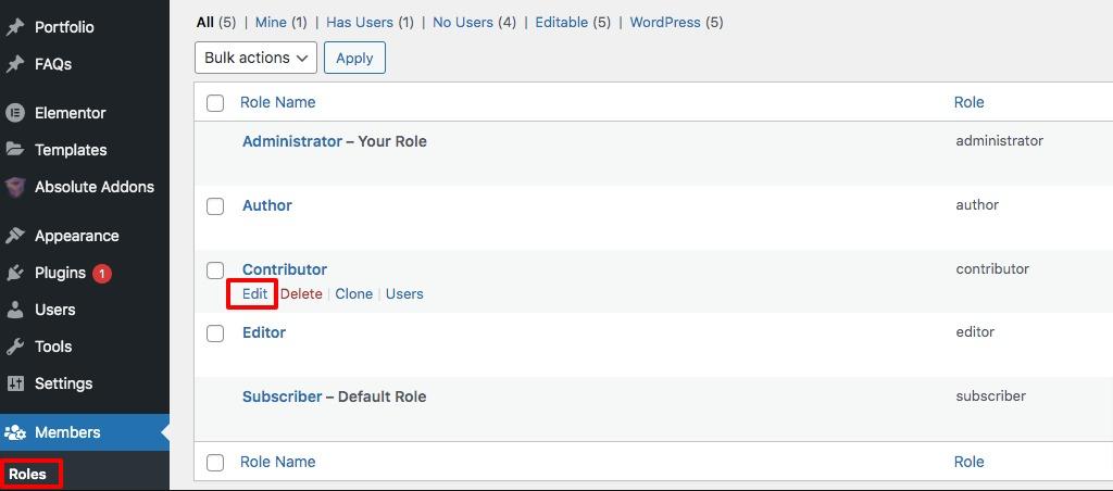 capabilities to user roles